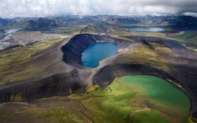 Обои небо, трава, горы, озеро, вулкан, кратер