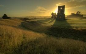 Обои поле, лето, небо, трава, солнце, пейзаж, руины