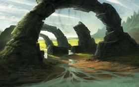 Картинка обломки, пейзаж, река, камни, скалы, арт, руины