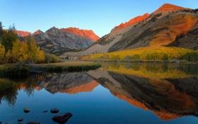 Картинка осень, лес, горы, озеро, California, North lake