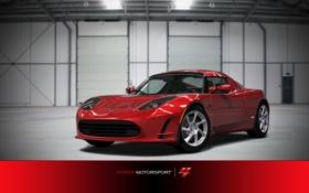 Картинка линии, блики, гараж, красная, модернизация, Forza Motorsport 4, Tesla Roadster Sport