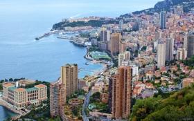 Обои море, города, берег, побережье, дома, франция, монако