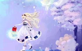 Картинка девушка, цветы, ночь, дерево, луна, арт, фонарь