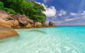 Обои море, небо, облака, деревья, тропики, камни, берег