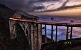 Обои море, небо, мост, скалы