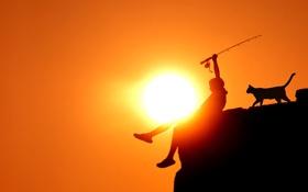 Картинка кот, солнце, рыбалка, мальчик