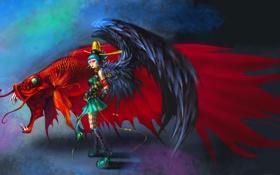 Обои девушка, фантастика, сюрреализм, крылья, рыбка, арт, петушок