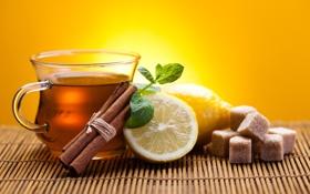 Обои лимон, чай, палочки, чашка, сахар, корица, циновка