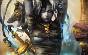 Обои девушка, оружие, золото, лампа, меч, бинты, readman (artist)