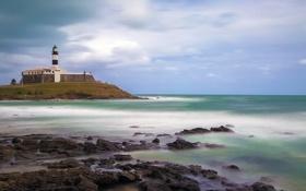 Обои море, волны, пляж, камень, буря, Бразилия, Сальвадор