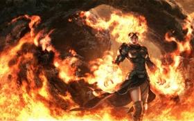 Обои огонь, Magic: The Gathering, Игра, арт, магия, девушка, пламя