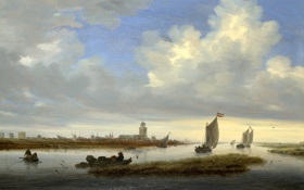 Картинка небо, пейзаж, город, лодка, картина, мельница, канал