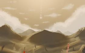 Обои горы, путь, игра, звезда, арт, game, fan art