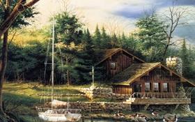 Обои лес, дом, рисунок, яхта, Summer, Changing Seasons, Terry Redliner