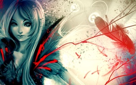 Картинка девушка, линии, абстракция, перо, арт, ryky