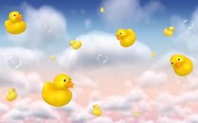 Обои пузыри, утки, облако, детская