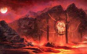 Картинка солнце, оружие, люди, фантастика, скалы, огонь, магия