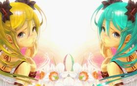 Обои взгляд, девушка, цветы, отражение, арт, vocaloid, hatsune miku