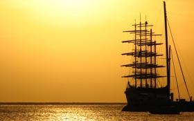 Картинка море, океан, обои, лодка, корабль, парусник, яхта