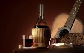 Обои вино, красное, черный, бутылка, гитара, еда, хлеб