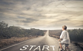 Обои дорога, велосипед, путь, ребёнок, начало