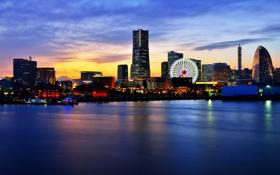 Картинка зима, закат, огни, Япония, Йокогама, Hidehiko Sakashita Photography, портовый город