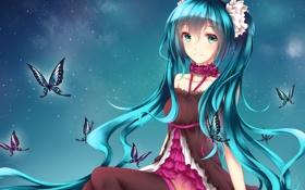 Картинка девушка, бабочки, улыбка, аниме, арт, vocaloid, hatsune miku