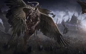 Обои оружие, замок, крылья, воин, Битва, войско, гиганты