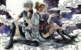 Картинка девушка, ночь, луна, Парень, gintama, sakata gintoki, саке