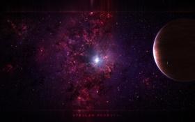 Обои пространство, звезда, планета, спутник, газ