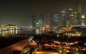 Обои улица, сингапур, вечер, дорога, огни