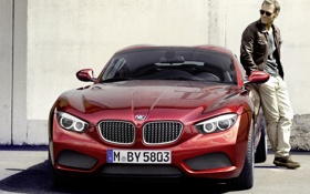 Картинка красный, купе, тень, BMW, БМВ, мужчина, Coupe