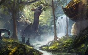 Обои арт, лес, люди, динозавры, река, водопад