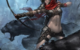 Обои животные, девушка, поза, фантастика, лук, арт, стрелы