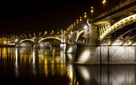Картинка вода, свет, ночь, город, отражение, река, Венгрия