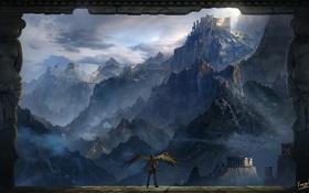 Картинка облака, пейзаж, горы, скалы, человек, высота, крылья