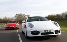 Обои 911, Porsche, Carrera 4, road, cars, Coupe, speed