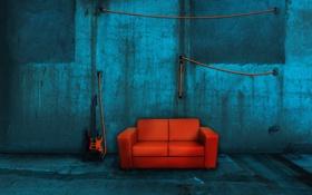 Картинка комната, диван, стены, гитара, провод