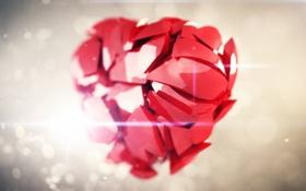 Обои свет, осколки, сердце, арт