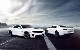 Обои белый, Chevrolet, Camaro, white, шевроле, мускул кар, muscle car
