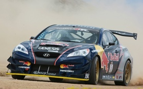 Обои купе, скорость, пыль, Hyundai, Red Bull, Coupe, хёндай