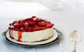 Картинка клубника, еда, ягоды, сладкое, чизкейк, десерт, торт