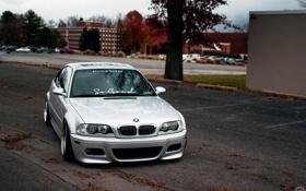 Картинка серый, бмв, BMW, перед, E46