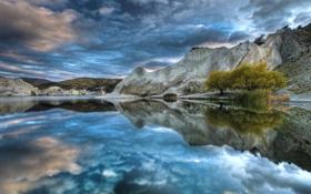 Обои облака, деревья, небо, отражение, горы, hdr, озеро