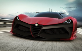 Обои Alfa Romeo, автомобиль, zero lm-c, car, машина, концепт, альфа ромео