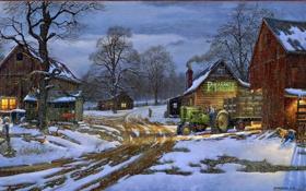 Картинка зима, снег, дом, собака, трактор, ферма, фермер