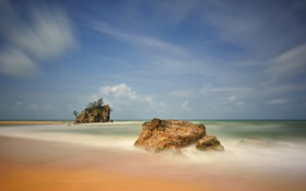 Картинка море, небо, скала, камни, остров
