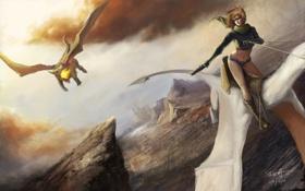 Картинка девушка, полет, пистолет, оружие, драконы, арт, верхом