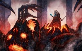 Обои огонь, магия, Девушка, монстр, искры, клинок