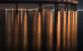 Обои город, река, мост, отражение, огни